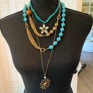 Jewelry - BoHo Turquoise & Gold Necklace Trio